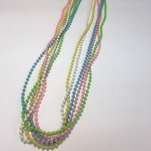 Vintage colorful pastel multi strand bead necklace